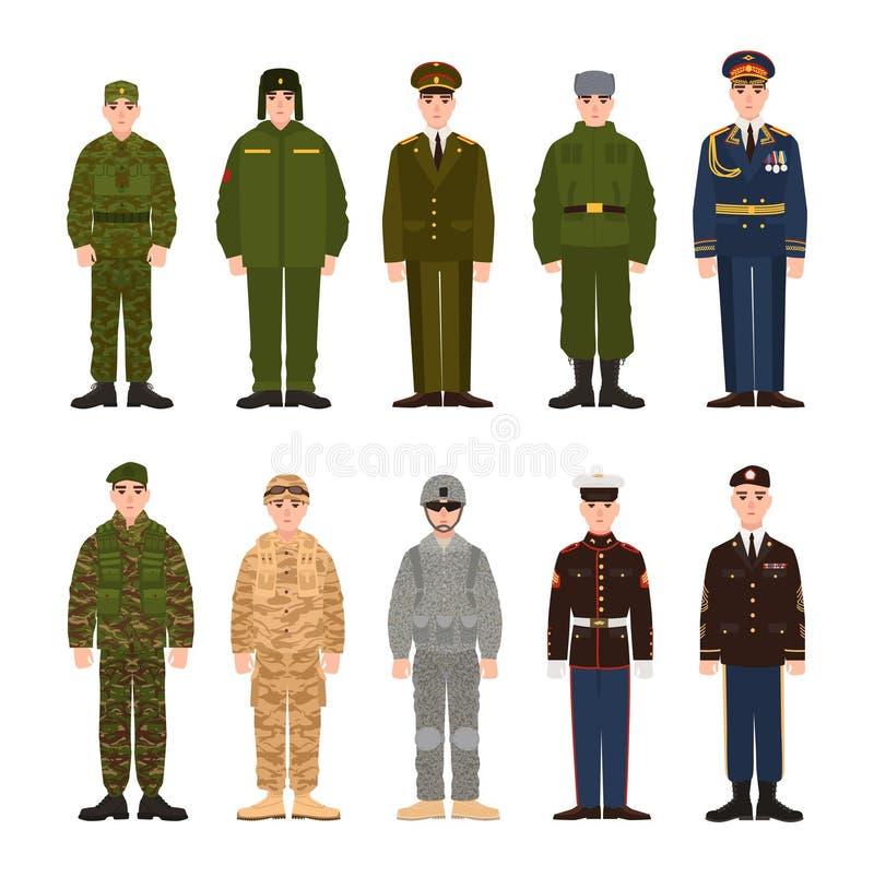 俄国和美国军事人民或人员的汇集在各种各样的制服穿戴了 捆绑俄罗斯的战士 向量例证