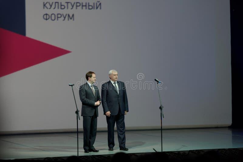俄国圣彼德堡Georgy波尔塔夫琴科的文化部长弗拉基米尔Medinsky和州长 免版税库存图片