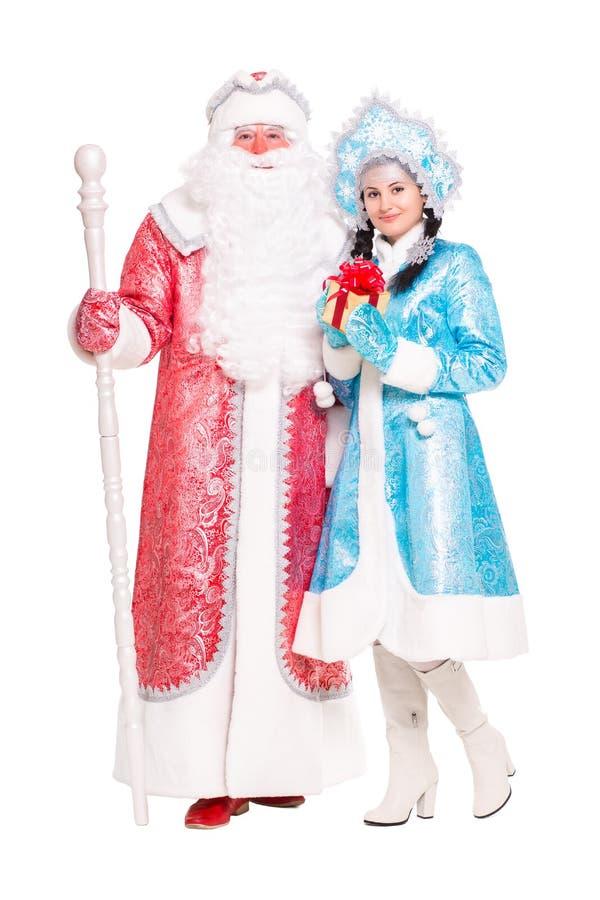 俄国圣诞节字符Ded莫罗兹和Snegurochka 库存照片