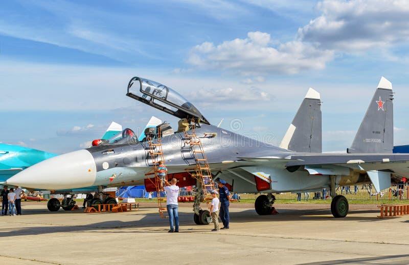 俄国多角色战斗机苏霍伊Su30 免版税库存照片