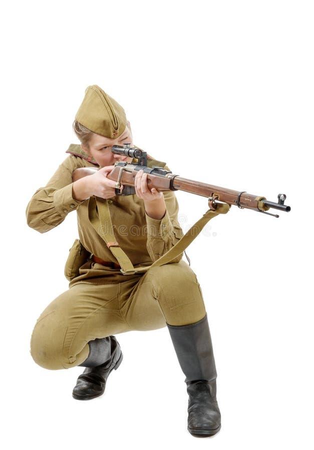 俄国女孩士兵 WW2在白色隔绝的重立法 免版税库存照片