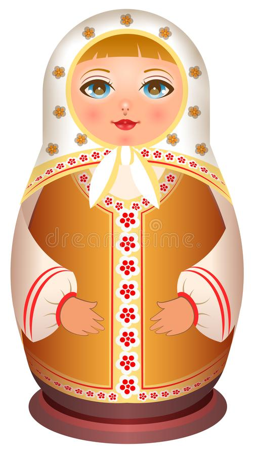 俄国女孩木玩偶 传统全国玩具matryoshka 库存例证