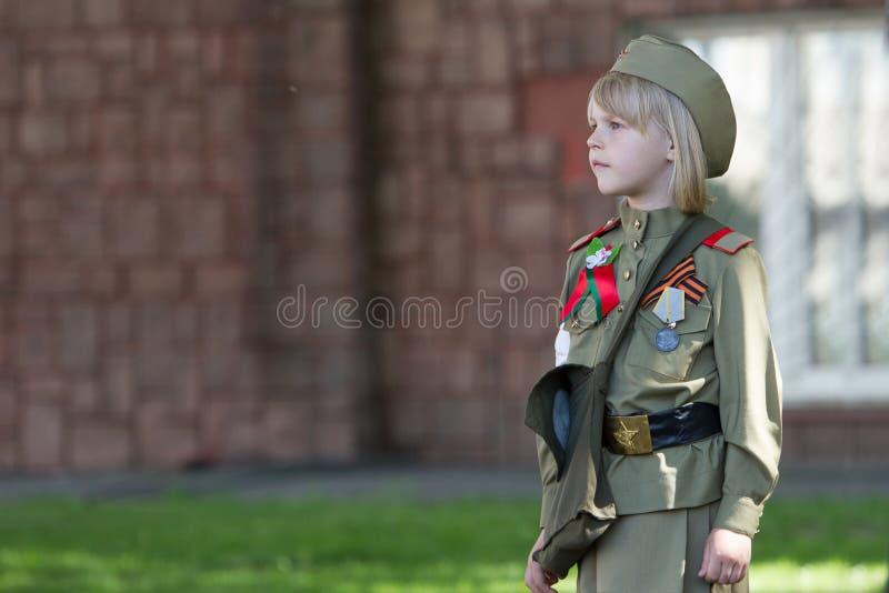 俄国孩子的爱国教育 库存照片