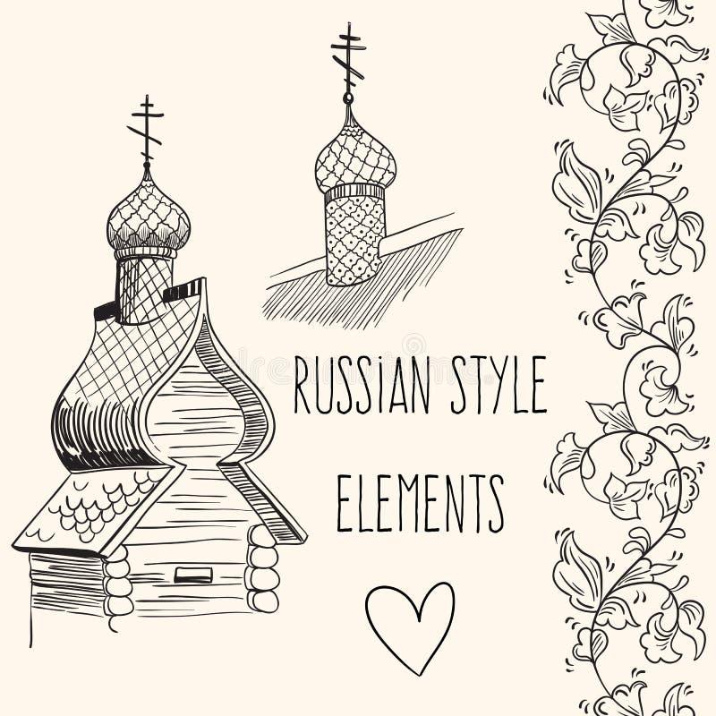 俄国小屋的手拉的传染媒介元素 文化,生活方式,传统 俄国样式例证 库存例证