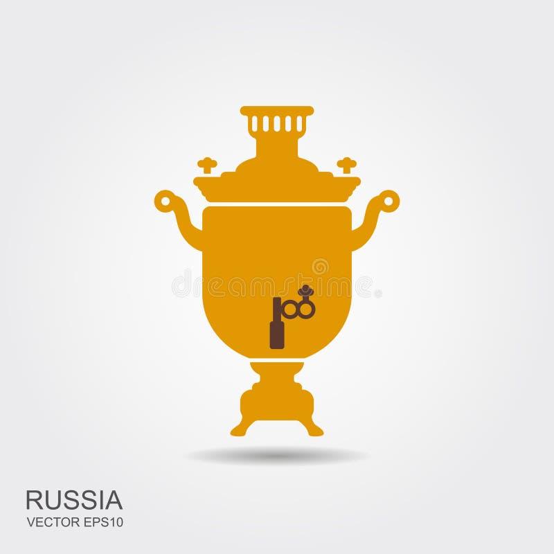 俄国式茶炊平的象 向量例证