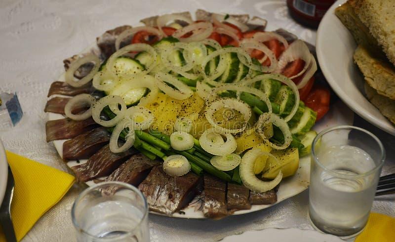 俄国快餐,鱼,蕃茄,黄瓜,土豆,葱, 免版税库存照片