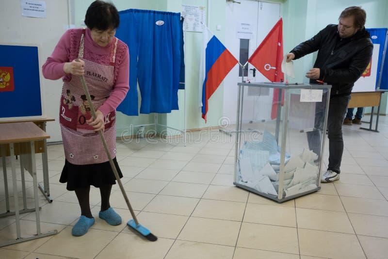 俄国总统的竞选 投票站 库存图片