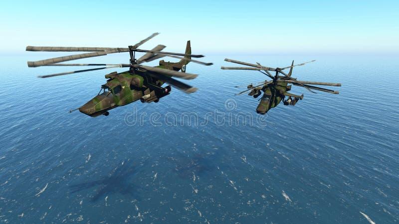 俄国战斗的直升机 库存例证