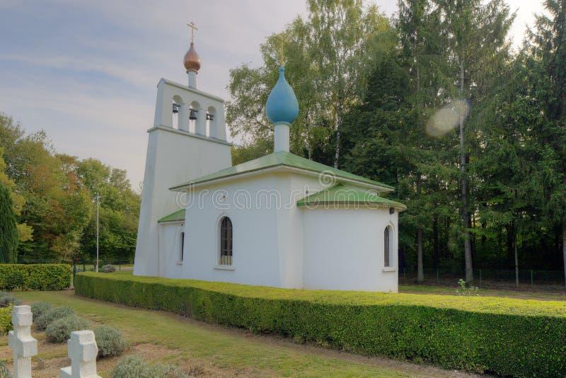俄国教堂的侧视图圣徒希莱尔le盛大 图库摄影