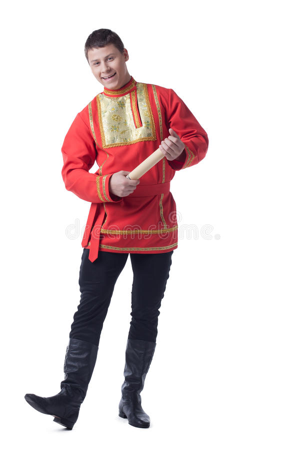 俄国服装的愉快的舞蹈演员与信函 免版税库存照片