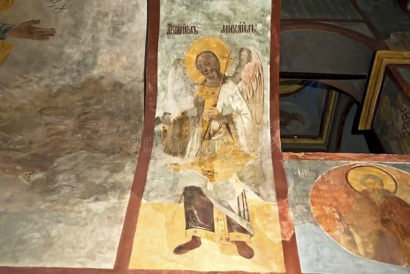 俄国正教教会壁画XVI世纪象壁画肖象的场面 免版税库存照片