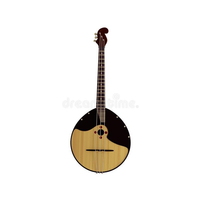 俄国民间传统乐器- domra,俄式三弦琴 现实3d回报 向量例证
