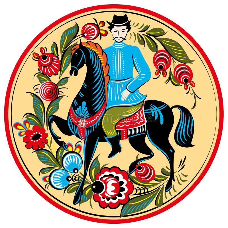 俄国民间绘画-在马的车手 库存例证