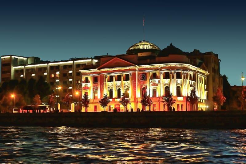俄国沙皇时代的太子尼古拉宫殿在不眠夜 库存例证