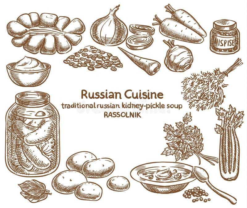 俄国烹调, rassolnik成份,传染媒介剪影 向量例证