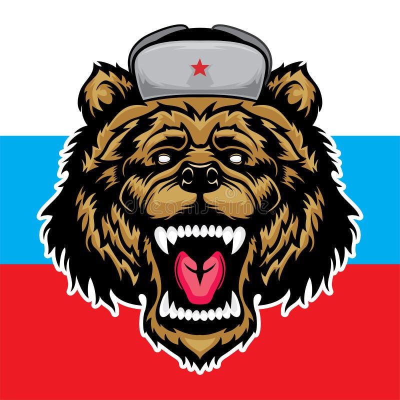 俄国熊 恼怒的野兽掠食性动物和俄罗斯旗子 皇族释放例证