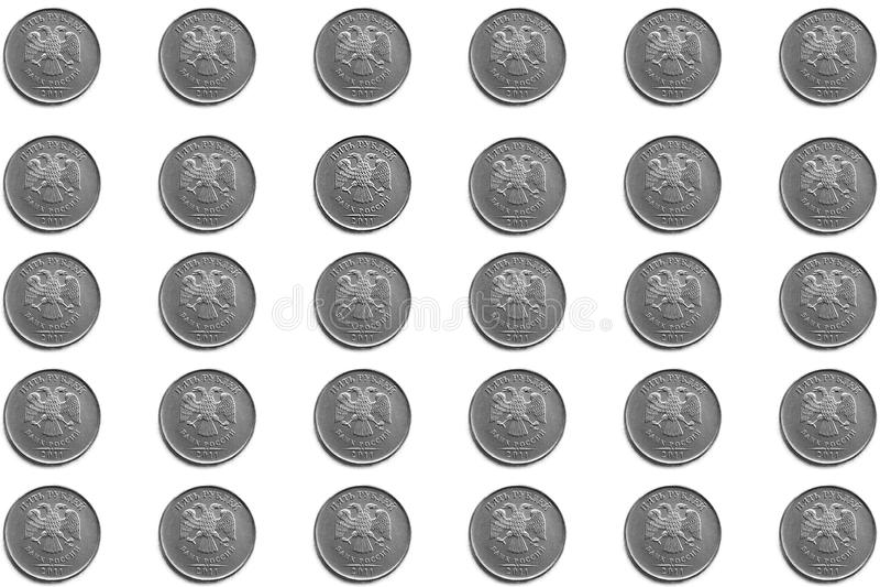 俄国硬币背景在5卢布的衡量单位的在白色背景的 库存照片