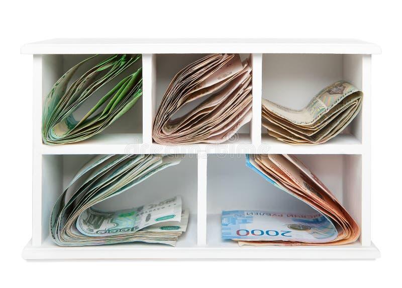 俄国纸币延长用一个木箱的不同的细胞 库存图片