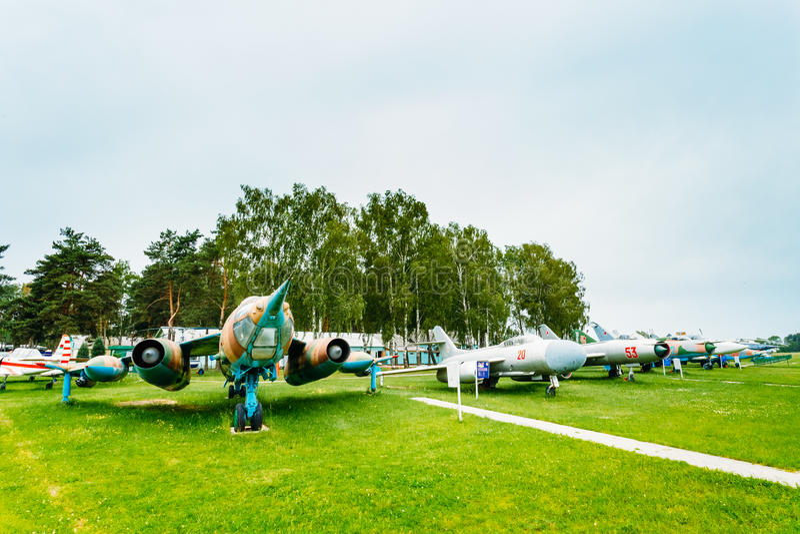 俄国苏联飞机在航空博物馆站立 库存照片