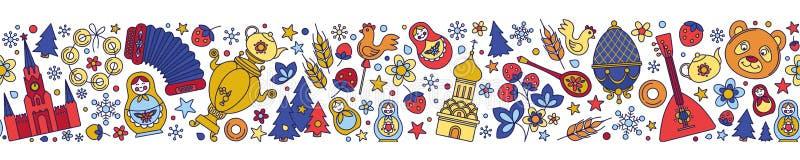 俄国莫斯科俄罗斯上色了象无缝的背景边界框架样式 皇族释放例证