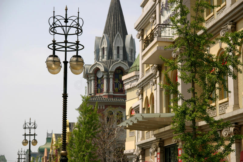 俄国街道在大连 免版税库存图片