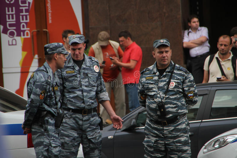 俄国警察在反对时召集 免版税图库摄影