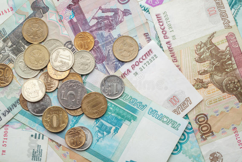 俄国金钱背景 钞票和硬币 免版税库存图片