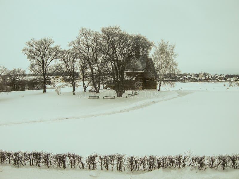 俄国风景在冬天 免版税库存照片