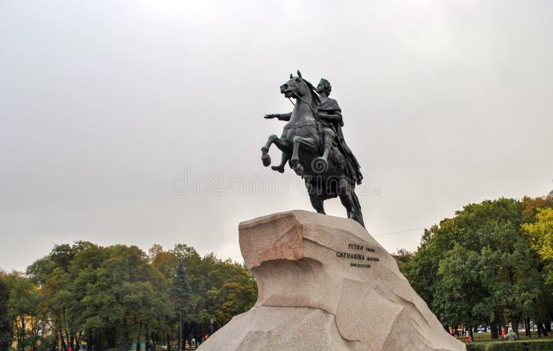 俄国 圣彼德堡:对彼得大帝的纪念碑 免版税库存照片