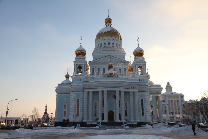 俄国 莫尔多瓦共和国共和国,圣西奥多乌沙科夫大教堂在萨兰斯克 免版税库存照片