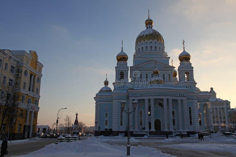 俄国 莫尔多瓦共和国共和国,圣西奥多乌沙科夫大教堂在萨兰斯克 库存图片