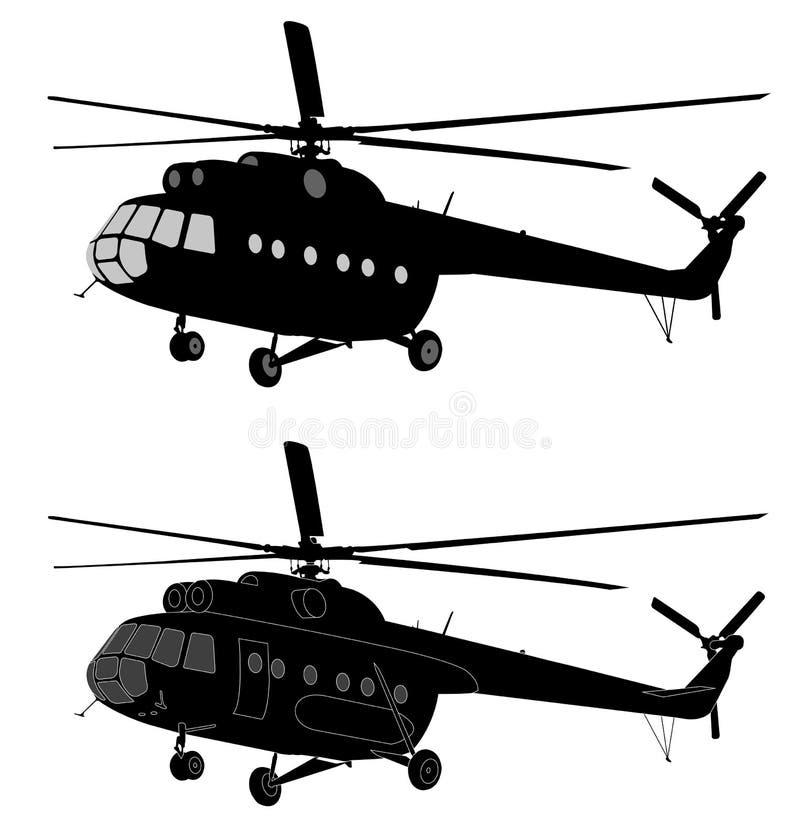 俄国MI-8直升机剪影  向量例证