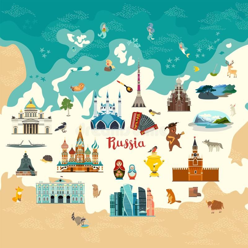 俄罗斯传染媒介地图,colorfull例证 俄国标志 Cherch和博物馆 皇族释放例证