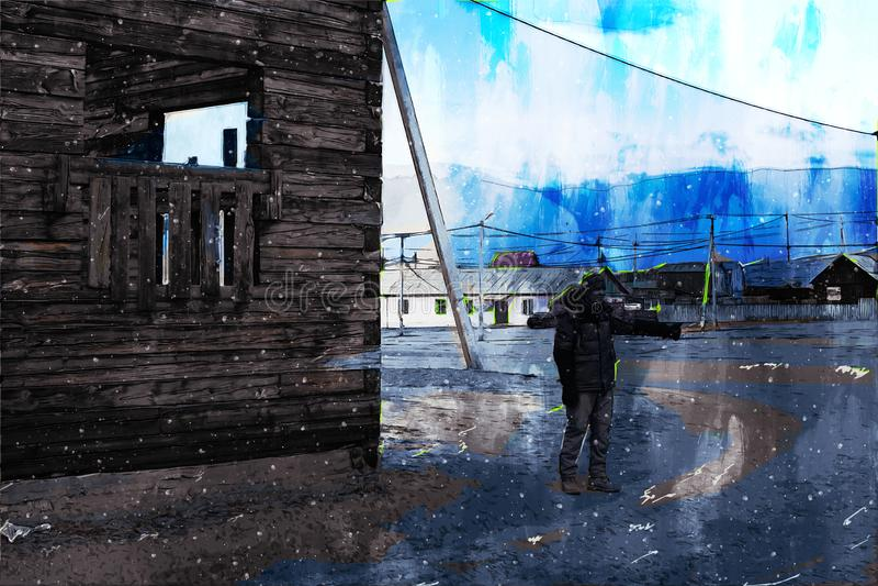 俄罗斯偏远城镇村庄房屋数字绘画背景图 向量例证