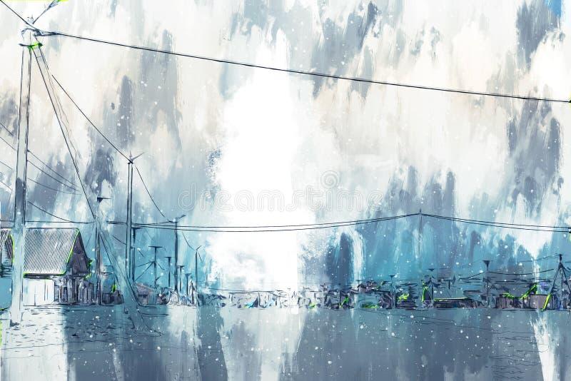 俄罗斯偏远城镇村庄房屋数字绘画背景图 皇族释放例证