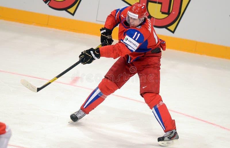 俄罗斯冰球球员Malkin 免版税库存照片