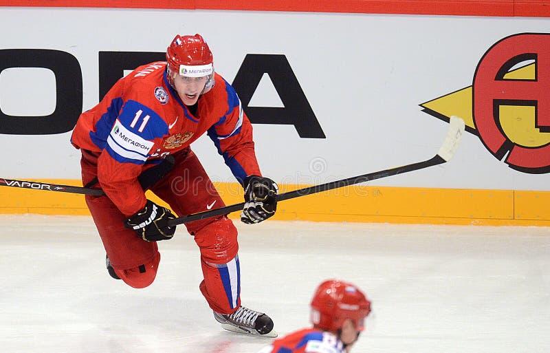 俄罗斯冰球队 免版税库存照片