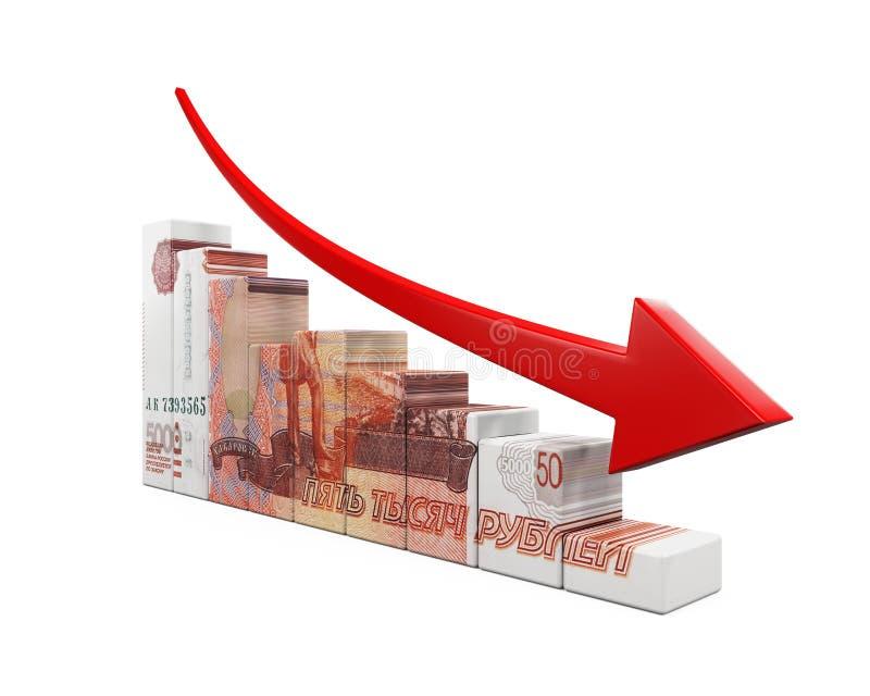 俄罗斯卢布和红色箭头 库存例证