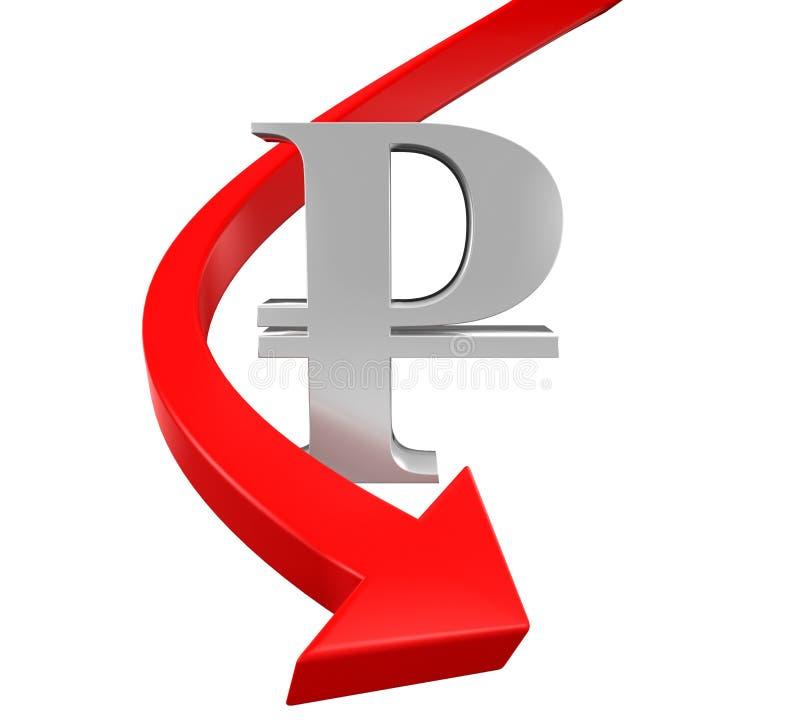 俄罗斯卢布标志和红色箭头 库存例证