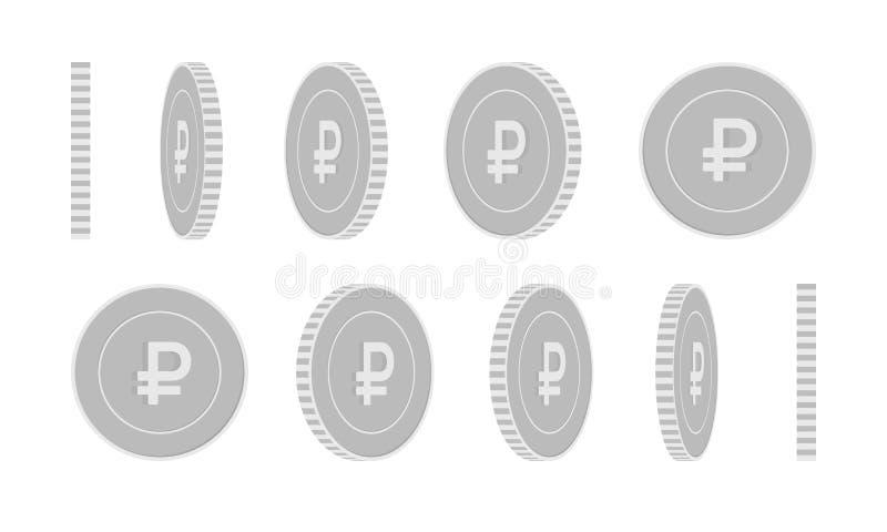俄罗斯卢布转动的硬币集合,准备好的动画 皇族释放例证