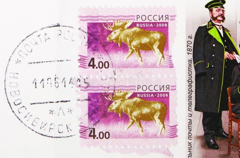 俄罗斯印有新西伯利亚镇邮政局邮票的邮票显示莫斯阿尔塞斯州,第5期 库存照片