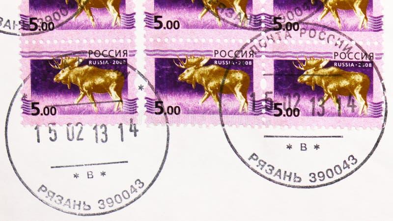俄罗斯印有梁赞镇邮政局邮票的邮票显示麋鹿谷,第5期俄文 库存照片