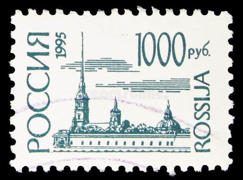 俄罗斯印有的邮票显示,圣彼得堡彼得帕维尔堡, 免版税图库摄影