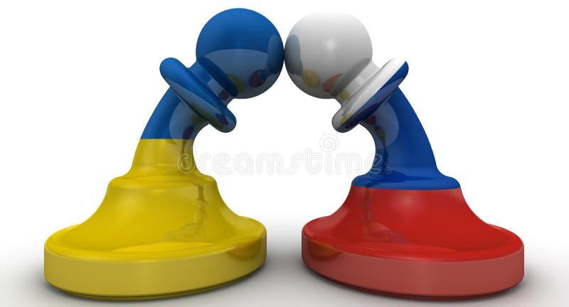 俄罗斯和乌克兰的交锋 概念 向量例证
