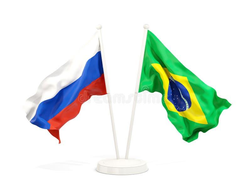 俄罗斯和巴西的两面挥动的旗子 向量例证