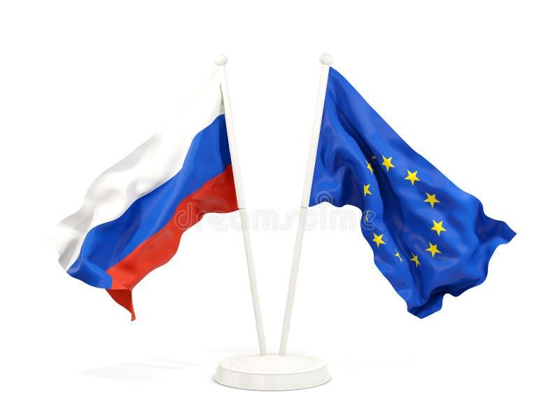 俄罗斯和欧盟两面挥动的旗子  库存例证