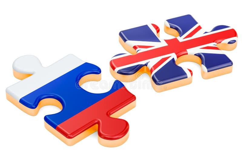 俄罗斯和英国难题,政治冲突概念 3d翻译 库存例证