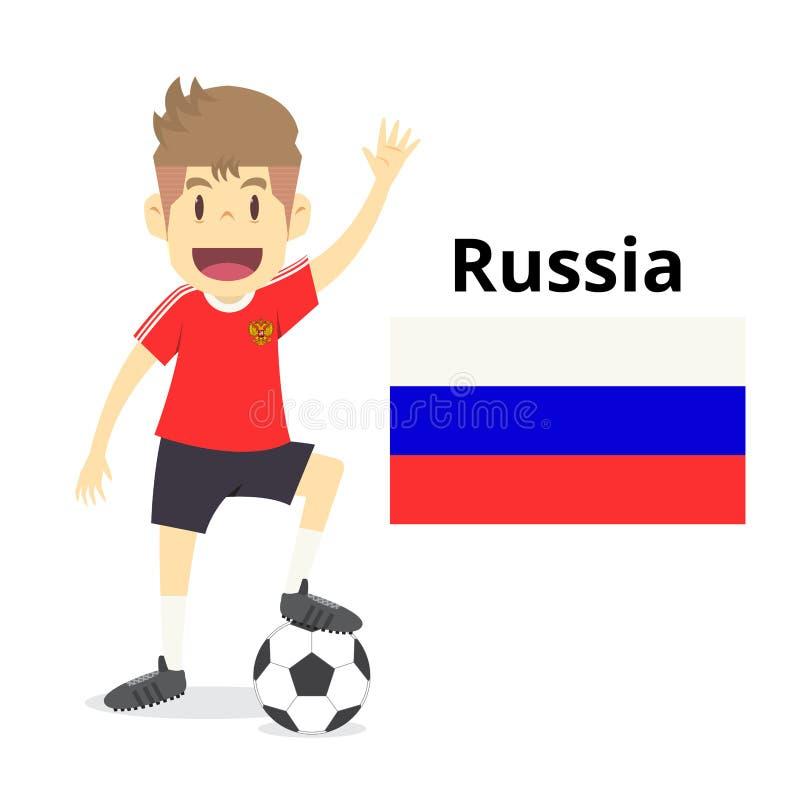 俄罗斯国家队动画片,橄榄球世界,国旗 2018年 皇族释放例证
