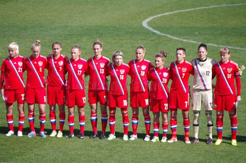 俄罗斯女子的国家足球队员 免版税库存图片
