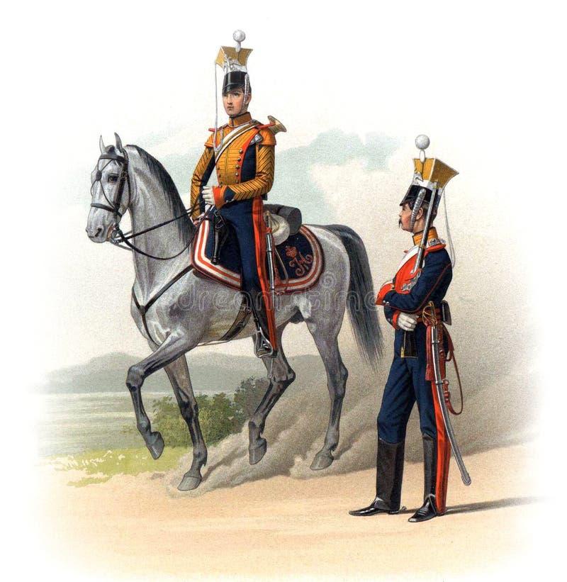 俄罗斯帝国的官员和战士的一张老图片 向量例证